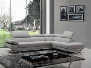 k divani flour Divani Casa Quebec Modern Light Grey Eco-Leather Sectional Sofa Bello 5 K Divani Flour
