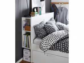 letto brimnes IKEA, BRIMNES,, frame with storage & headboard, Full, -, ,, 4 integrated drawers give, extra storage space under, bed Originale 5 Letto Brimnes