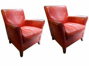 poltrone vintage shop online 20th Century, Vintage Leather Original Baxter Armchairs Rustico 4 Poltrone Vintage Shop Online