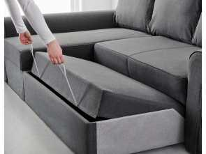 sofa backabro ikea opiniones BACKABRO Sofá cama, chaiselongue Nordvalla gris oscuro Bello 4 Sofa Backabro Ikea Opiniones