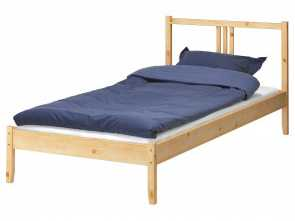 Twin Futon Frame Ikea, Maestoso Wooden Twin XL, Frame Ikea With Blue Mattress, Pillow