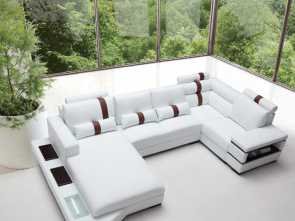 Www Divani Divani, Bellissima Divani Casa Massimo, Contemporary Bonded Leather Sectional Sofa With Light