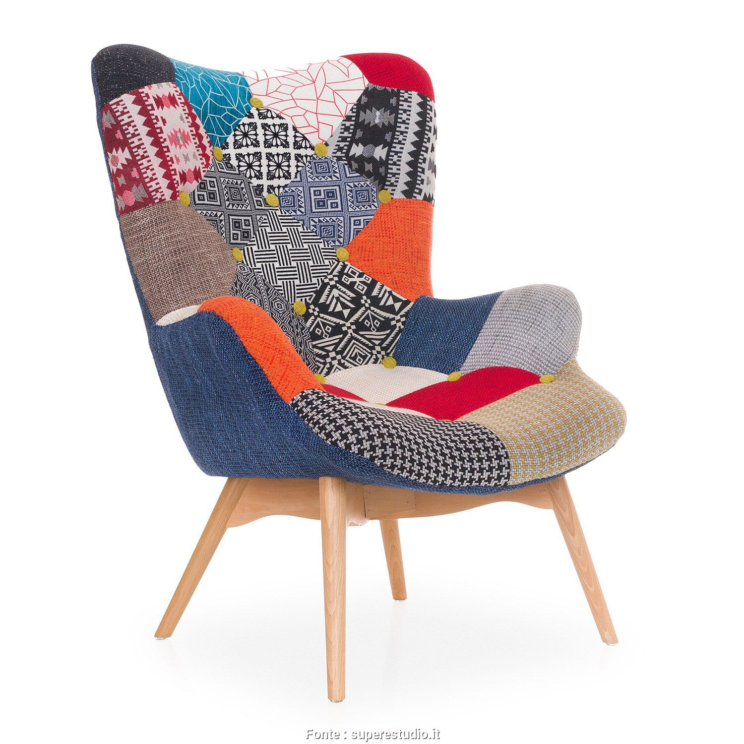 Poltrone Vintage Patchwork, Bellissimo Poltrona FREATHER -Patchwork- (Sedie Icone, Design) Contour R160